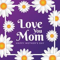 Muttertagsgrußkarte Mit Blumen Hintergrund vektor