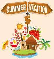 Sommarlov med bungalow på ön vektor