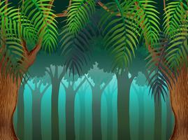 Bakgrundsscen med träd i skog