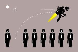 Affärsman flyger med en jetpack från sin kollega.