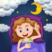 Tjej i lila säng på natten
