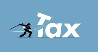 Skatteskärning av affärsman.