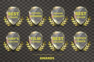 Sats av Realistic Vector Glass Trophy Awards.