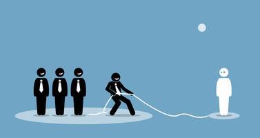 Affärsman drar anslutning och talang att gå med i sitt företagsteam. vektor