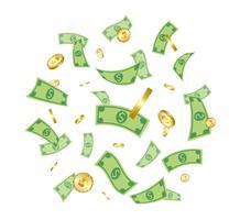 Pengar som faller från ovan isolerade på vit bakgrund.