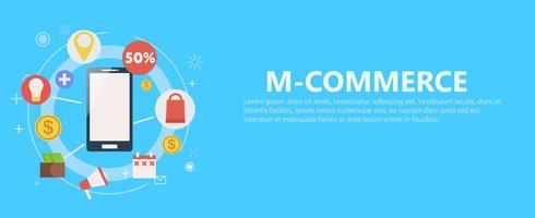 M-Commerce-Telefon Banner. flache Darstellung