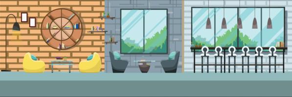 Leerer moderner Café-Innenraum keine Leuterestaurant flache Vektor-Illustration vektor