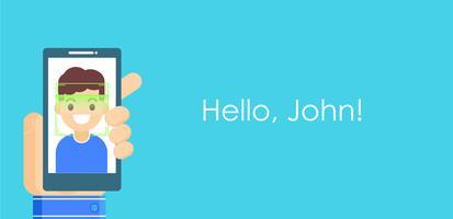 Ansiktsigenkänning och mobilidentifiering. Youngman låser upp sin smartphone eller app. platt illustration