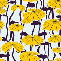 Sömlös bakgrund gul lotus i damm. vektor