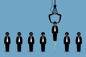 Arbeitssuchende, Angestellte und Büroangestellte werden von einer Spielklaue abgeholt oder handverlesen.