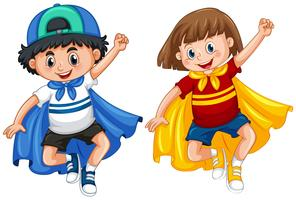 Pojke och tjej i hjälte outfit