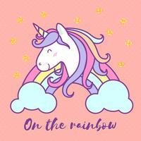Gullig unicorn tecknad film tecken illustration design. Vektor illustration