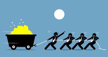 Führer arbeiten mit Angestellten und Arbeitern zusammen, um mit Ermutigung und Hilfe hart zu arbeiten.