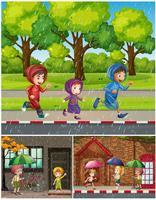 Scener med människor i regnet
