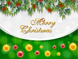Frohe Weihnachten Karte mit gelben und roten Kugeln vektor