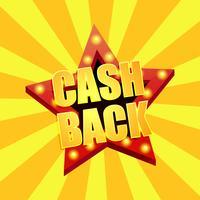 Cashback aktier. Rabatter på webbplatser, fynd. Star ljustext. Vektor illustration