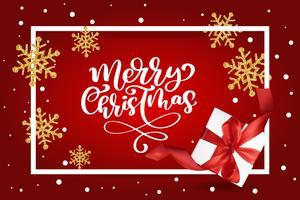 Beschriftung der frohen Weihnachten, rote Hintergrundvektorillustration, mit einer Maschengeschenkbox und goldenen Schneeflocken. Weihnachtsgrußkarte