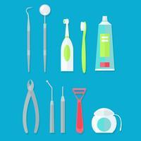 Zahnärztliche Werkzeuge gesetzt. Flache Vektorillustration