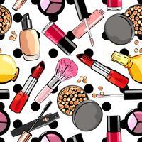 Sömlöst mönster med sminkprodukter. Kosmetika. vektor