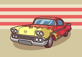 Retro- Auto mit Feuer-Motiv-Aufkleber-Vektor
