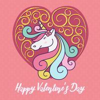 Gullig unicorn tecknad film tecken illustration design. Glad Valentinsdag vektor illustration