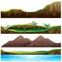 Vier Ansichten von Berg und Fluss