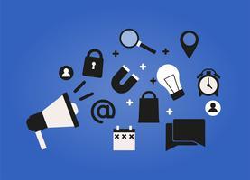 Banner für digitales Marketing. Auf blauem Hintergrund Eine Shoutbox mit Symbolen seo, Benutzer, Kalender, Suche. Flache Vektorillustration