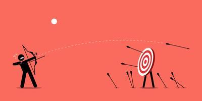 Misslyckas med att träffa målet. vektor