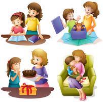 Mamma och barn gör olika aktiviteter