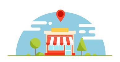Banner för lokal företagsoptimering. Butiken är lönsam. Horisontell bakgrund med träd och berg. Vektor platt illustration