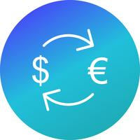 Austausch-Euro mit Dollar-Vektor-Ikone vektor