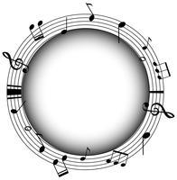 Runder Rahmen mit Musiknoten und grauem Hintergrund vektor