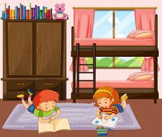 Pojke och tjej läser bok i sovrummet vektor