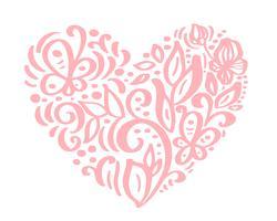 Handdragen hjärtat kärlek valentin blommor separator. Kalligrafi designerelement flora. Vektor vintage bröllop illustration Isolerad på vit bakgrund ram, hjärtor för din design
