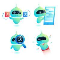 Chatbot set Antwort auf Nachrichten im Chat schreiben. Bot-Berater können Benutzer in Ihrem Telefon online unterstützen. Vektorkarikaturabbildung vektor