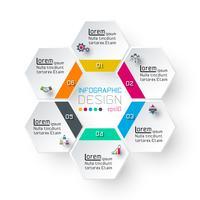 Hexagon Inforgraphics auf Vektorgrafiken.