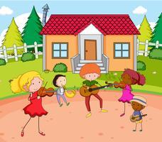 Gekritzelmusikerpraxis vor Haus