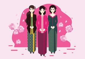 Dame im Kebaya Kartini-Vektor vektor