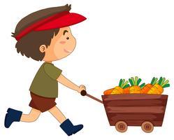 Junge, der Wagen voller Karotten drückt