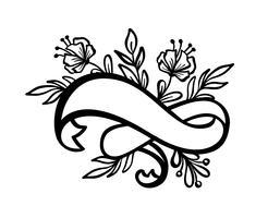 Fahnenweinleserahmen mit Band und Platz für den Text mit tropischen Blumen und Blättern auf weißem Hintergrund, Vektorillustration für Grußkarte oder Hochzeit, Feiertag, Tätowierung, Druck