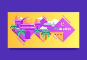 Gullig Ied Mubarak hälsningskort vektor mall