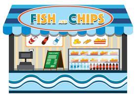 Fisk och chips butik vektor