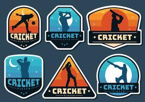 Crickt-Player-Abzeichen-Vektor-Pack vektor