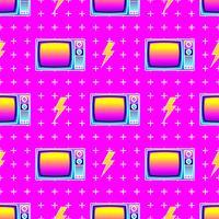 Retro sömlös mönster gammal TV vektor