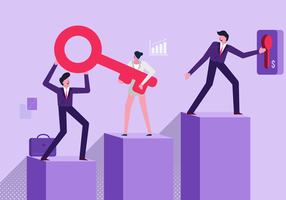 Halten des Schlüssels der Unternehmensziel-Vektor-flachen Illustration vektor