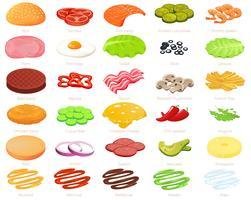 Zutaten Burger Designer. Erbauer von Lebensmitteln und Fleisch und Gemüse sowie Käse und Fisch