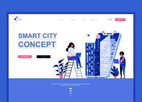 Modern platt webbdesign mall koncept för Smart City Technology