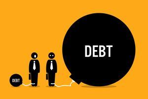 Mann von anderen Menschen überrascht, große Schulden.