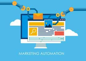 Marknadsföring Automation. Dator med en webbplats som bygger robotens händer. Vektor platt illustration