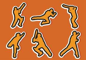 cricket spelare klistermärke vektor pack